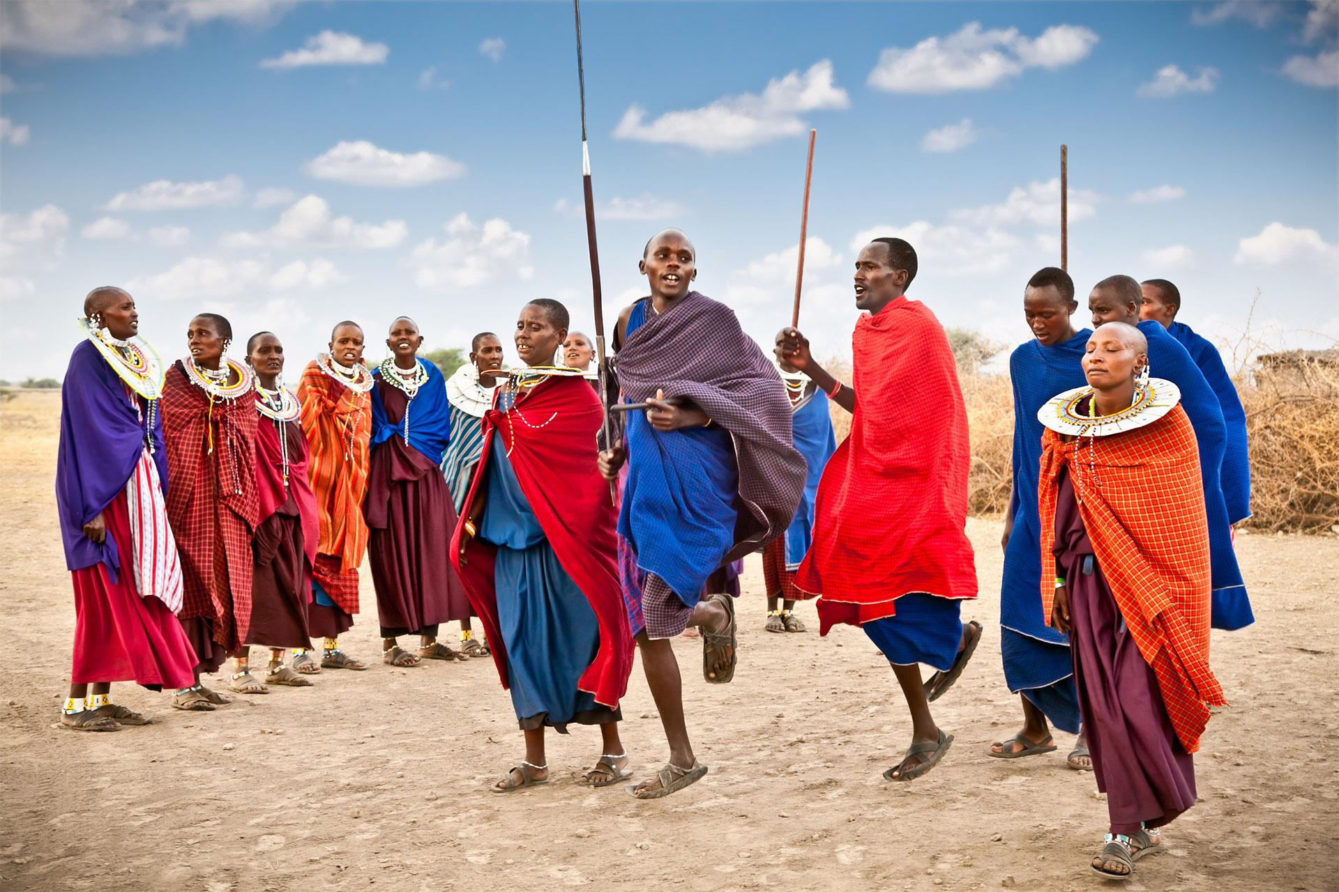TANZANIA, AFRICA FEBRUARY 9, 2014: Masai Warriors Dancing Tradi