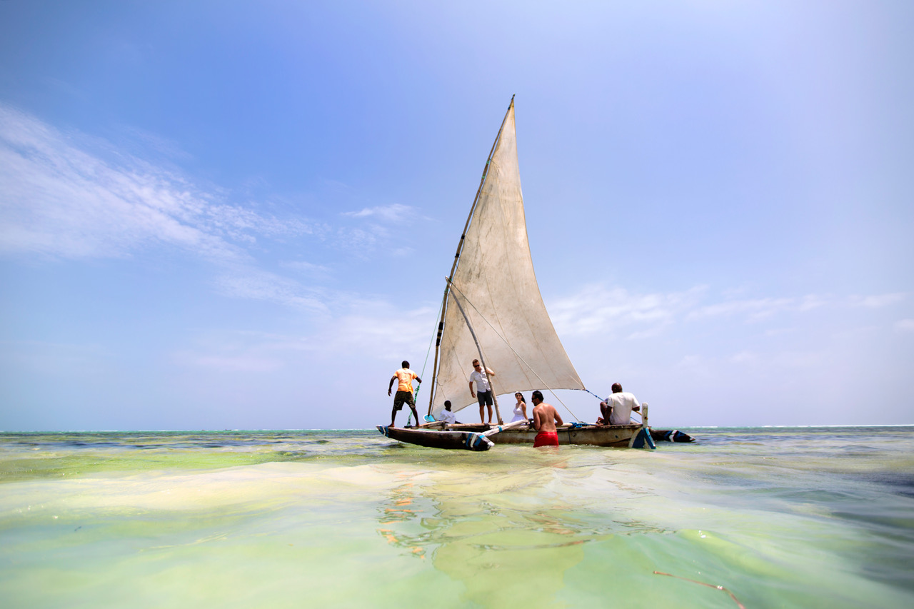 Matemwe Beach Sailing Boat With Wedding Couple